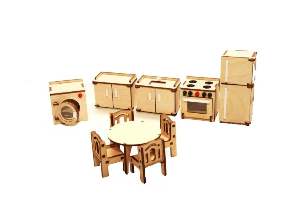 Набор мебели «Кухня»Конструкторы Happykon<br>Набор мебели «Кухня» создан специально для одной из комнат Конструктора «Кукольный дом».<br> <br> Мебель выполнена из березовой фанеры, но небольшие элементы, например, ручки на дверцах, сделаны из пластика. Все детали собираются без клея, просто вставляются ...<br><br>Артикул: HK-M004<br>Размер готовой модели: холодильник (1 шт.): 3,2x4x10 см; шкафчик с мойкой (1 шт.): 3,2x6x5 см; кухонная плита (1шт.): 3,7x5x5 см; стиральная машина (1 шт.): 4x5x5 см; круглый обеденный стол диаметром 6,5 см, высотой 4 см; стул (4 шт): 3x3x4,5см<br>Материал: Дерево (фанера)<br>Размер упаковки: 21x15x2 см<br>Возраст: от 5 лет
