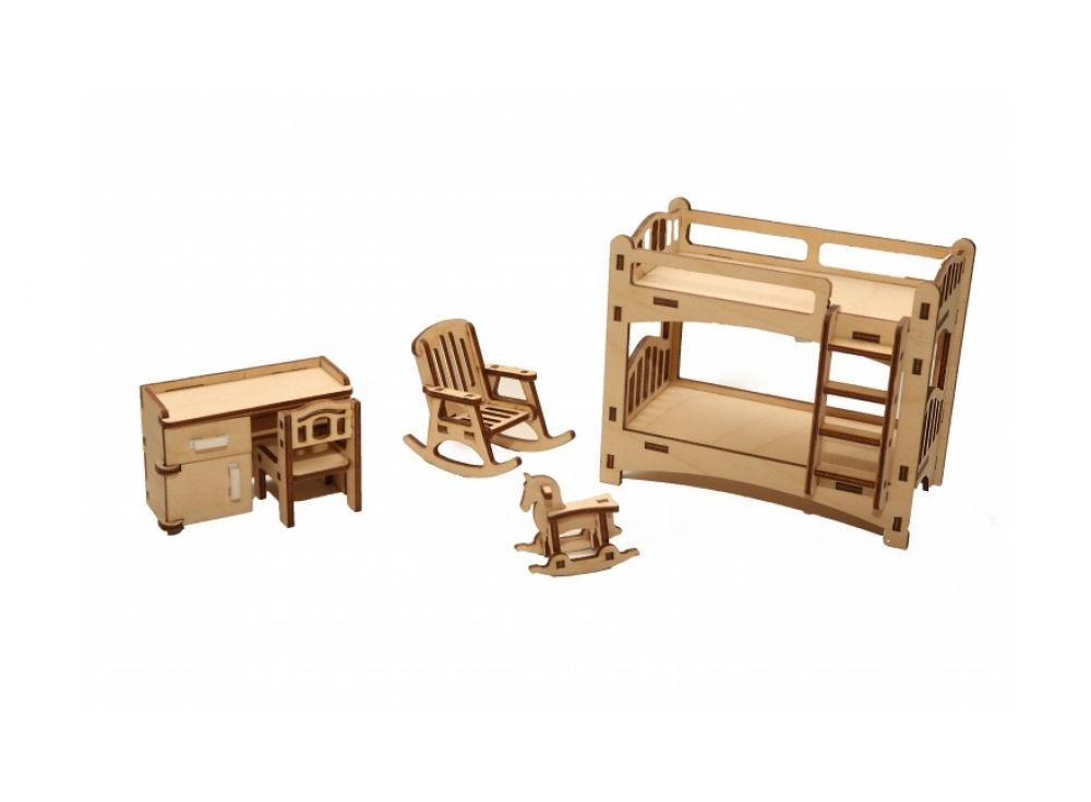 Набор мебели «Детская»Конструкторы Happykon<br>Набор мебели «Детская» создан специально для одной из комнат Конструктора «Кукольный дом».<br> <br> Мебель выполнена из березовой фанеры, но небольшие элементы, например, ручки на дверцах, сделаны из пластика. Все детали собираются без клея, просто вставляютс...<br><br>Артикул: HK-M005<br>Размер готовой модели: кровать (1 шт.): 6,5x12,5x10,5 см; письменный стол (1 шт.): 3x7,5x5 см; стул (1 шт.): 3x3x4,5 см; кресло-качалка (1 шт.): 6x4x6 см; игрушка (1 шт.) 2x4x3,5 см<br>Материал: Дерево (фанера)<br>Размер упаковки: 21x15x2 см<br>Возраст: от 5 лет