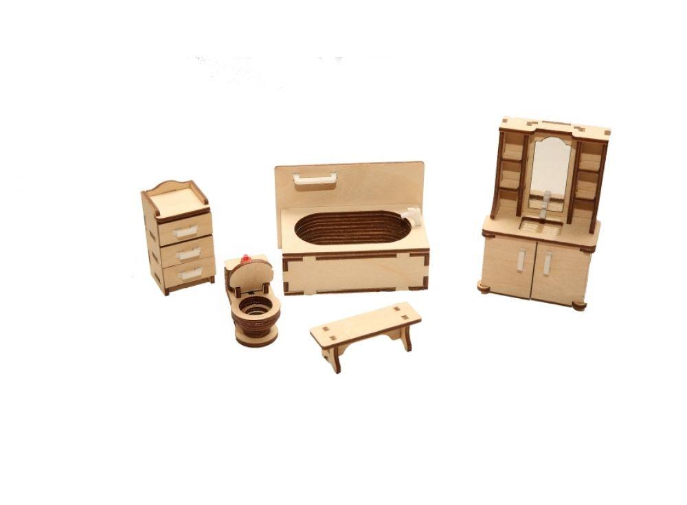 Набор мебели «Ванная»Конструкторы Happykon<br>Набор мебели «Ванная» создан специально для одной из комнат Конструктора «Кукольный дом».<br> <br> Мебель выполнена из березовой фанеры, но небольшие детали, например, ручки на дверцах, сделаны из пластика. Все элементы собираются без клея, просто вставляются...<br><br>Артикул: HK-M006<br>Размер готовой модели: ванна (1 шт.) 9,5x5,5 см; шкаф с умывальником (1 шт.): 3x6x10,5 см; унитаз (1 шт.): 4,5x2 см; шкафчик (1 шт.): Зx3x6 см; скамейка (1 шт.): 2x6x2 см<br>Материал: Дерево (фанера)<br>Размер упаковки: 21x15x2 см<br>Возраст: от 5 лет