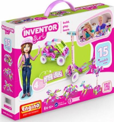 Конструктор Engino Набор из 15 моделейПластиковые конструкторы (Модели для сборки) Engino<br><br><br>Артикул: IG15<br>Вес: 415 г<br>Серия: INVENTOR GIRLS<br>Материал: Пластик<br>Размер упаковки: 23x31x5,5 см<br>Возраст: от 6 лет