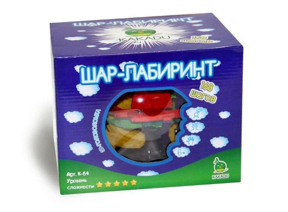 Шар-лабиринт Kakadu 22 см (168 ходов)Шары-лабиринты<br>Игрушка «Шар-лабиринт» от Kakadu - оригинальная 3D-головоломка, ориентированная на развитие внимания и ловкости. Самая сложная версия, содержащая 168 ходов, полна сюрпризов и неожиданных препятствий! Поверните Шар-лабиринт таким образом, чтобы установить ...<br><br>Артикул: K-64<br>Размер готовой модели: Диаметр: 22 см<br>Материал: Пластик<br>Возраст: от 3 лет<br>Количество игроков: 1<br>Аудитория: Детские
