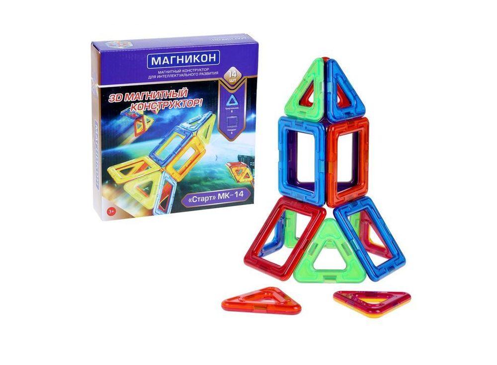 Магнитный конструктор «Старт»Магнитные конструкторы<br>Данная модель относится к категории конструкторов «Магникон» начального уровня сложности. Магнитный конструктор Магникон МК-14 «СТАРТ» – это возможность помочь ребенку в развитии цветового восприятия, пространственного мышления и творческих способностей. ...<br><br>Артикул: MK-14<br>Вес: 300 г<br>Материал: пластик с магнитными вставками<br>Упаковка: картонная коробка<br>Размер упаковки: 22x22x5,3 см<br>Возраст: от 3 лет
