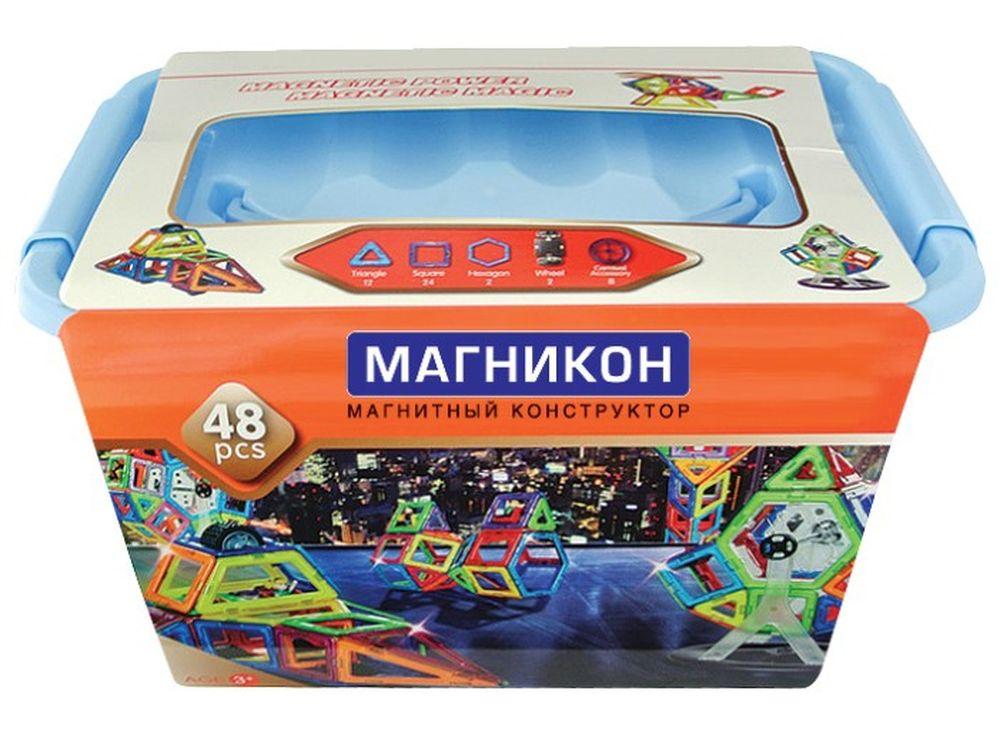 Магнитный конструктор MK-48Магнитные конструкторы<br>Комплект деталей детского развивающего магнитного конструктора модели Магникон МК-48 заключен в удобный пластиковый контейнер и рассчитан на средний уровень сложности.<br> <br> Разноцветные магнитные треугольники, квадраты и шестигранники в сочетании с колесн...<br><br>Артикул: MK-48<br>Вес: 1300 г<br>Материал: пластик с магнитными вставками<br>Упаковка: пластиковый кейс<br>Размер упаковки: 29x19,5x15,8 см<br>Возраст: от 3 лет