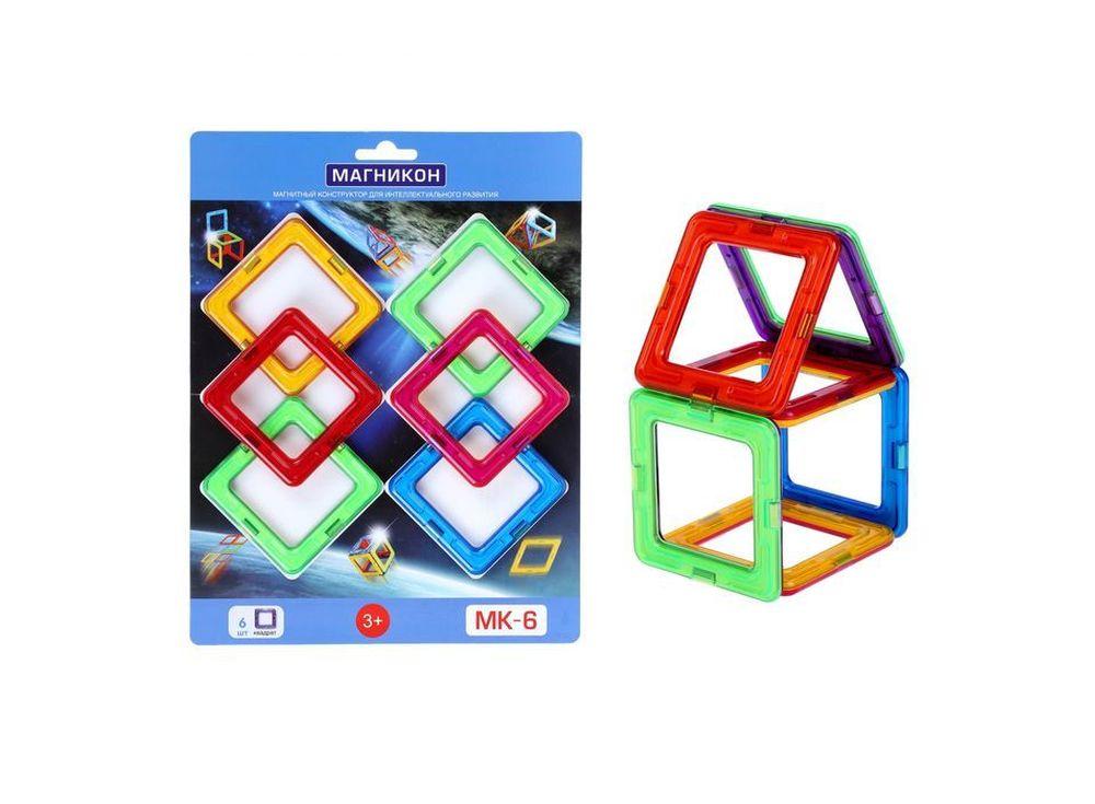 Магнитный конструктор MK-6Магнитные конструкторы<br>Набор конструкционных элементов Магникон МК-6 – это шесть квадратов из разноцветного пластика с магнитными вставками, из которых можно собрать простейшие объемные формы в виде кубика, стульчика, аквариума и т.д. Стоимость такого комплекта невысока, и он м...<br><br>Артикул: MK-6<br>Вес: 190 г<br>Материал: пластик с магнитными вставками<br>Упаковка: блистер<br>Размер упаковки: 190x250x18 см<br>Возраст: от 3 лет