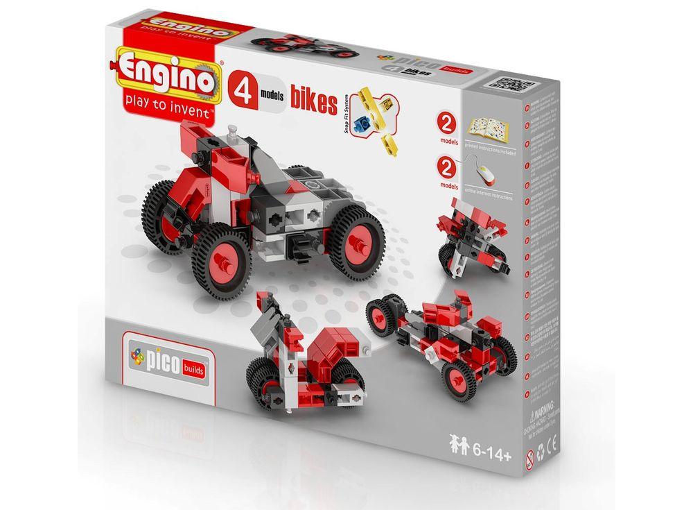 Конструктор Engino Мотоциклы - 4 моделиПластиковые конструкторы (Модели для сборки) Engino<br><br><br>Артикул: PB12(0432)<br>Вес: 178 г<br>Серия: PICO BUILDS/INVENTOR<br>Материал: Пластик<br>Размер упаковки: 16x22x5,5 см<br>Возраст: от 6 лет