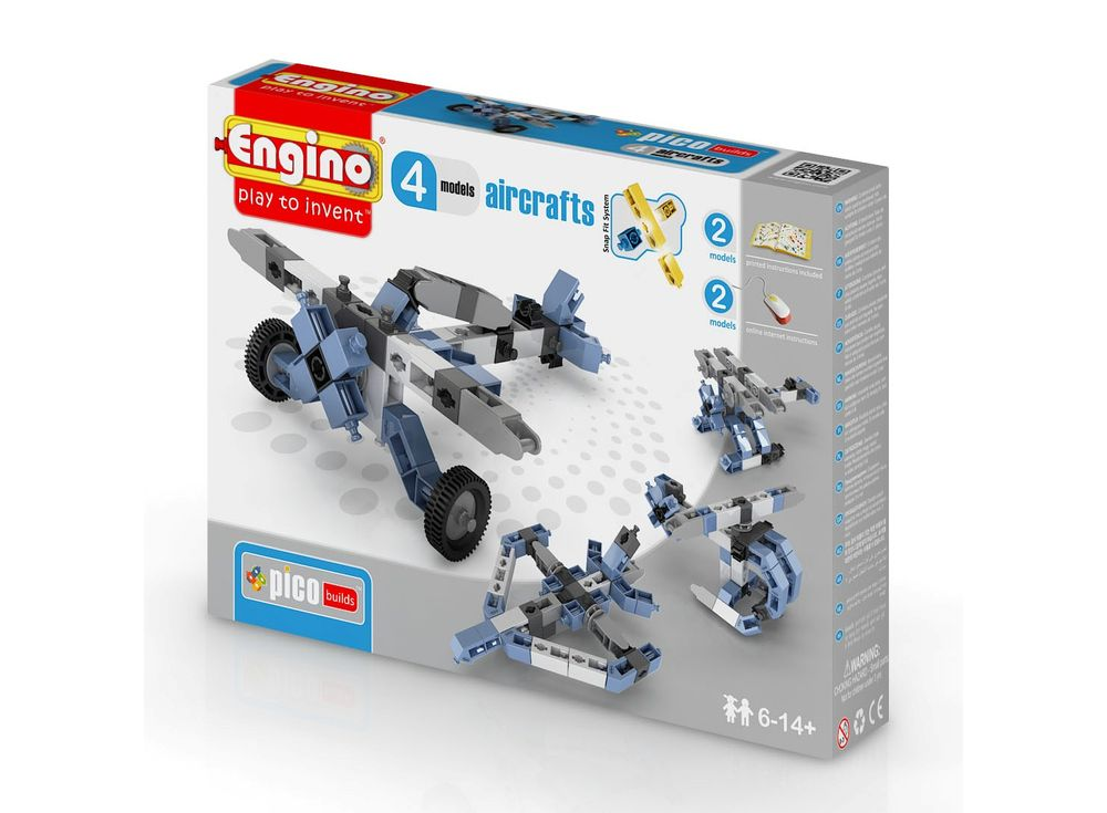Конструктор Engino Самолеты - 4 моделиПластиковые конструкторы (Модели для сборки) Engino<br><br><br>Артикул: PB13(0433)<br>Вес: 179 г<br>Серия: PICO BUILDS/INVENTOR<br>Материал: Пластик<br>Размер упаковки: 16x22x5,5 см<br>Возраст: от 6 лет