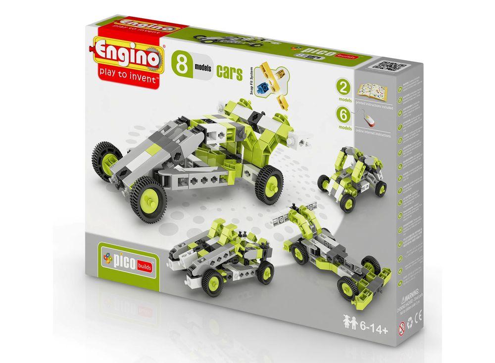 Конструктор Engino Автомобили - 8 моделейПластиковые конструкторы (Модели для сборки) Engino<br>Конструктор ENGINO Автомобили - 8 моделей из серии PICO BUILDS дает возможность Вашему ребенку из 70 деталей собрать по очереди 8 различных моделей машин — гоночную, багги, джип и другие. В комплекте находится подробная инструкция по сборке 2 моделей, е...<br><br>Артикул: PB21(0831)<br>Вес: 238 г<br>Серия: PICO BUILDS/INVENTOR<br>Материал: Пластик<br>Размер упаковки: 9x26x5 см<br>Возраст: от 6 лет