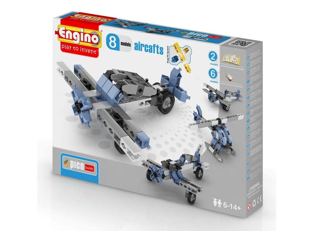 Конструктор Engino Самолеты - 8 моделейПластиковые конструкторы (Модели для сборки) Engino<br><br><br>Артикул: PB23(0833)<br>Вес: 242 г<br>Серия: PICO BUILDS/INVENTOR<br>Материал: Пластик<br>Размер упаковки: 19x26x5 см<br>Возраст: от 6 лет