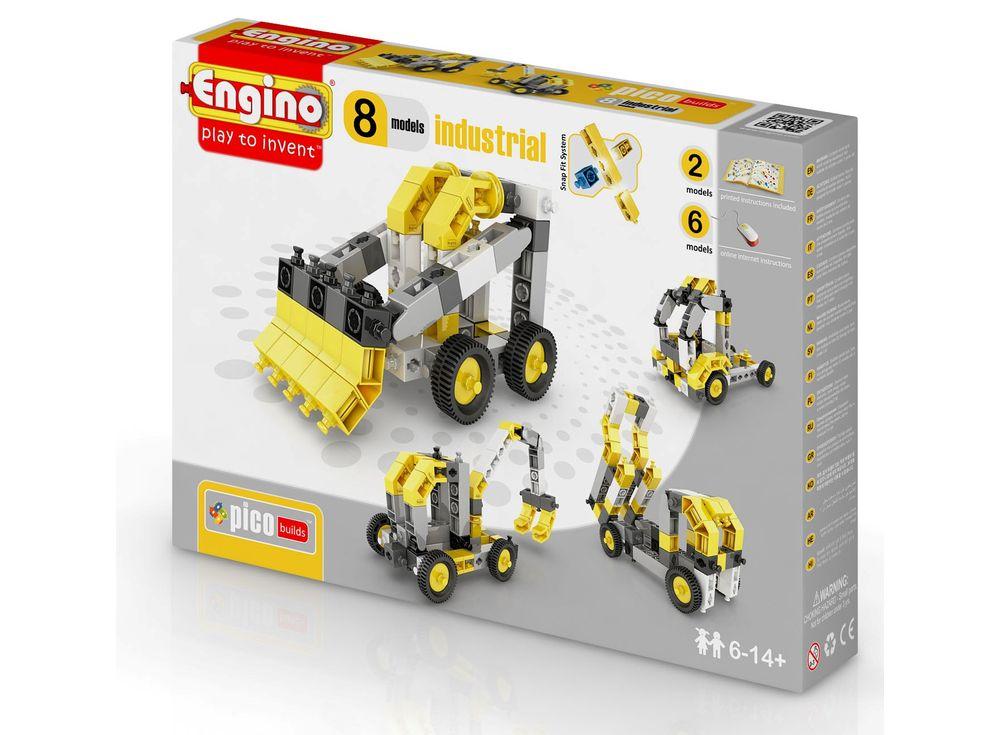 Конструктор Engino Спецтехника - 8 моделейПластиковые конструкторы (Модели для сборки) Engino<br><br><br>Артикул: PB24(0834)<br>Вес: 249 г<br>Серия: PICO BUILDS/INVENTOR<br>Материал: Пластик<br>Размер упаковки: 6x26x20 см<br>Возраст: от 6 лет