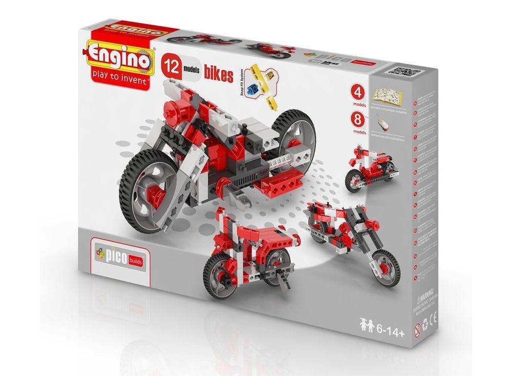 Конструктор Engino Мотоциклы - 12 моделей ст.15Пластиковые конструкторы (Модели для сборки) Engino<br>Конструктор Engino PICO BUILDS/INVENTOR Мотоциклы - 12 моделей — набор начинающего уровня для юных инженеров. Инструкция по сборке 2-х мотоциклов находится внутри коробки, а ещё 10 можно скачать на сайте, из карточки товара.<br><br>В наборе 86 деталей с уника...<br><br>Артикул: PB32(1232)<br>Вес: 391 г<br>Серия: PICO BUILDS/INVENTOR<br>Материал: Пластик<br>Размер упаковки: 23x31x5 см<br>Возраст: от 6 лет