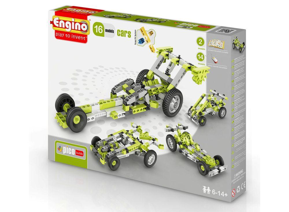 Конструктор Engino Автомобили - 16 моделейПластиковые конструкторы (Модели для сборки) Engino<br>Конструктор ENGINO Автомобили - 16 моделей из серии PICO BUILDS состоит из 145 деталей и позволяет ребенку, используя красочю инструкцию, собрать по очереди 16 разных современных моделей автомобилей - джип, гоночную машину, баги и другие. В комплекте нахо...<br><br>Артикул: PB41(1631)<br>Вес: 580 г<br>Серия: PICO BUILDS/INVENTOR<br>Материал: Пластик<br>Размер упаковки: 27x5x37 см<br>Возраст: от 6 лет
