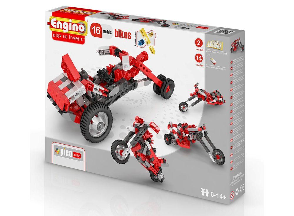 Конструктор Engino Мотоциклы - 16 моделейПластиковые конструкторы (Модели для сборки) Engino<br>Набор для настоящих любителей скорости! Из деталей набора можно собрать 16 подвижных моделей скоростных мотоциклов. Особая серия Pico builds объединяет в себе 4 подсерии наборов, посвященных транспортным средствам: автомобилям, мотоциклам, авиации и промы...<br><br>Артикул: PB42(1632)<br>Вес: 559 г<br>Серия: PICO BUILDS/INVENTOR<br>Материал: Пластик<br>Размер упаковки: 27x5x37 см<br>Возраст: от 6 лет