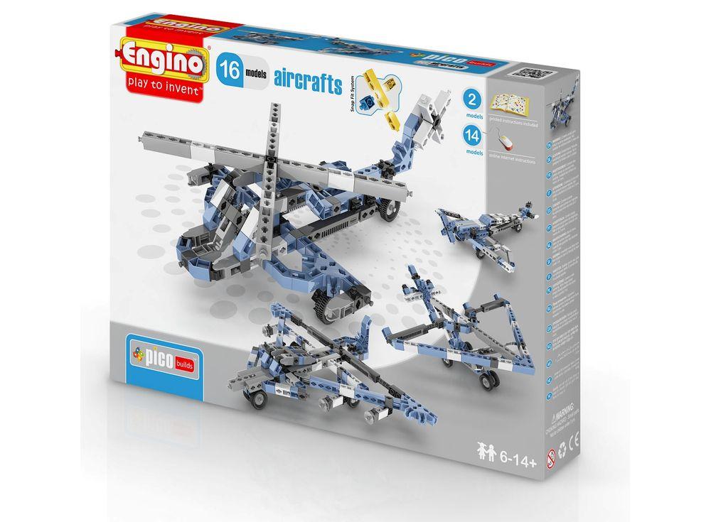 Конструктор Engino Самолеты - 16 моделейПластиковые конструкторы (Модели для сборки) Engino<br>С этим набором ребенок самостоятельно соберет разнообразные летательные аппараты! Из деталей набора можно собрать 16 подвижных моделей: истребитель, вертолет, «кукурузник» и другие. <br><br> Конструктор Engino – это безграничные творческие возможности юны...<br><br>Артикул: PB43(1633)<br>Вес: 525 г<br>Серия: PICO BUILDS/INVENTOR<br>Материал: Пластик<br>Размер упаковки: 27x5x37 см<br>Возраст: от 6 лет