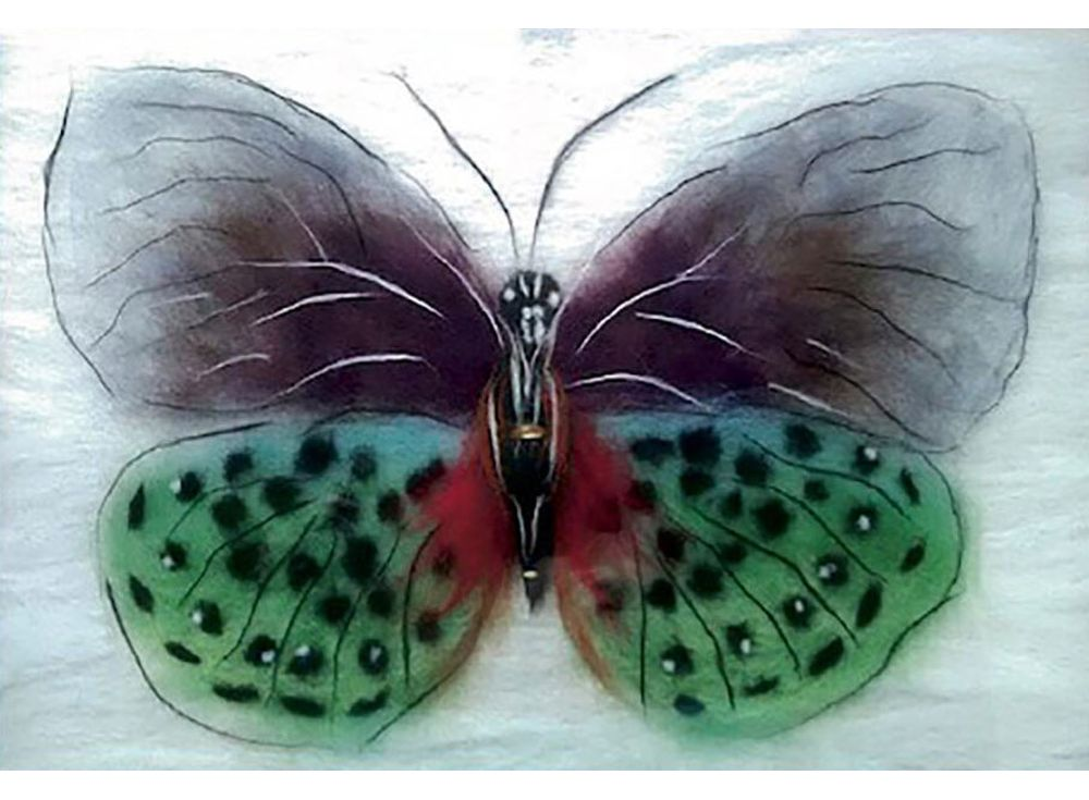 Картина шерстью «Бабочка Баттерфляй»