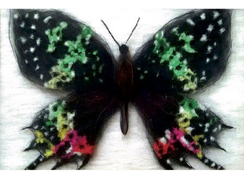 Картина шерстью «Бабочка Урания Мадагаскарская»Картины шерстью Цветной<br>Шерстяная живопись, рисование шерстью, теплая картина - это о картинах шерстью. Набор содержит все, что необходимо для творческого процесса, в том числе и рамку со стеклом. Порядок работы над картиной шерстью подробно, с фото и пояснениями изложен в инстр...<br><br>Артикул: SH032<br>Сложность: сложные<br>Размер: 20x30 см<br>Количество цветов: 9