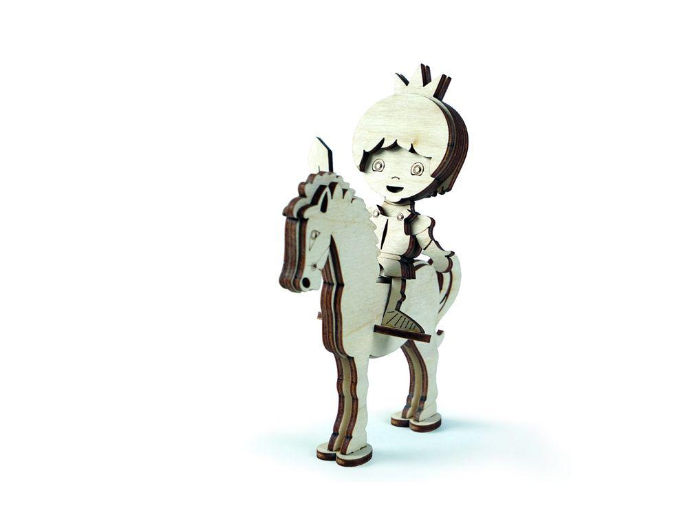 Конструктор «Принц на лошади»3D Конструкторы Lemmo<br><br><br>Артикул: СК-3<br>Вес: 70 г<br>Размер готовой модели: 15x8x11 см<br>Материал: дерево (фанера)<br>Возраст: от 5 лет