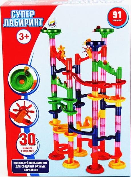Динамический конструктор Супер Лабиринт 91 элементовКонструкторы Супер-Лабиринт<br>Динамический конструктор Супер Лабиринт 91 деталь — это уникальная развивающая игрушка. Данный набор является средним в линейке Супер Лабиринт. Задача конструктора — не только собрать детали из набора, но и устроить увлекательные гонки с помощью специ...<br><br>Артикул: SL-91<br>Вес: 1400 г<br>Материал: Пластик<br>Размер упаковки: 31,6x22,8x8 см<br>Возраст: от 3 лет