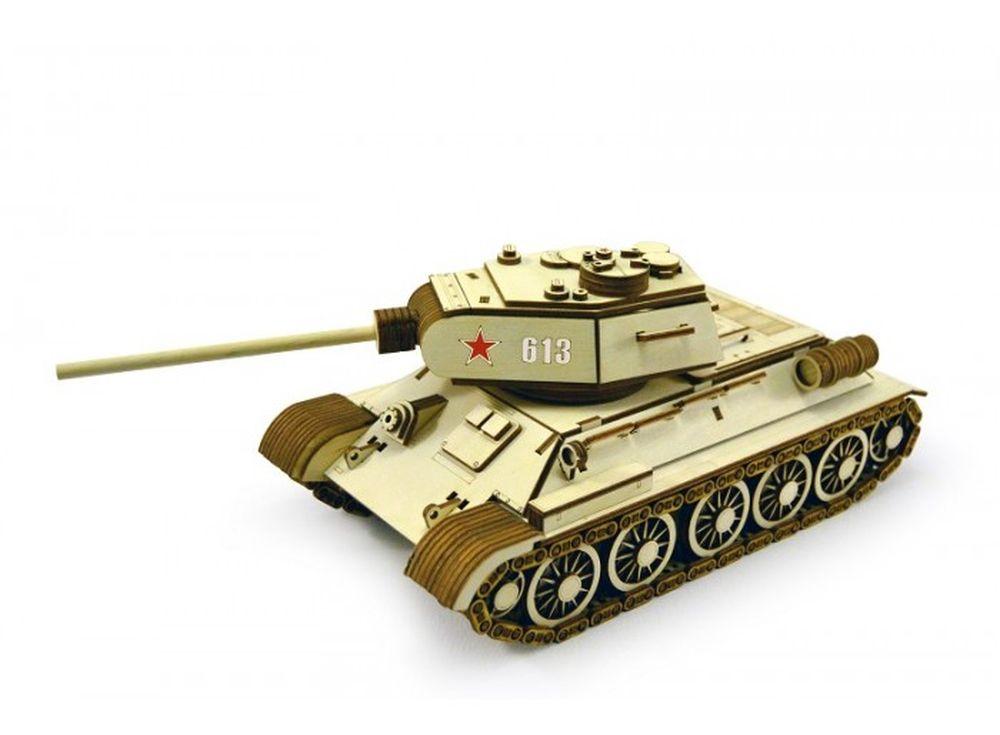 Конструктор «Танк Т-34-85»3D Конструкторы Lemmo<br>Компания Леммо представляет модель популярного во всем мире Танка Т-34-85, который составлял основу танковых войск Советской Армии и использовался в Великой Отечественной войне. Кроме того, Т-34 - это абсолютный хит у поклонников игры World of Tanks, лице...<br><br>Артикул: Т-34<br>Вес: 630 г<br>Размер готовой модели: 34x14x13,5 см<br>Материал: дерево (фанера)<br>Возраст: от 5 лет