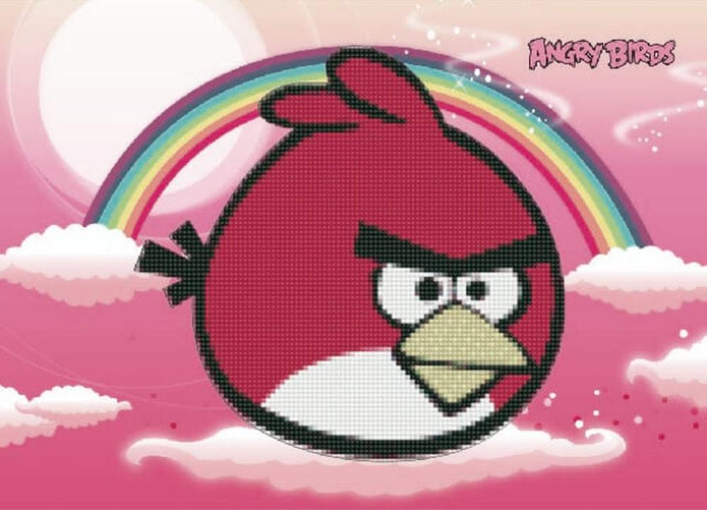 Алмазная вышивка «Angry Birds на облаках»Цветной<br><br><br>Артикул: X131<br>Основа: Холст без подрамника<br>Сложность: легкие<br>Размер: 17x22 см<br>Выкладка: Частичная<br>Количество цветов: 8-15<br>Тип страз: Круглые непрозрачные (акриловые)