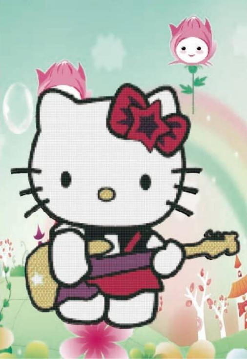 Стразы «Hello Kitty с гитарой»Цветной<br><br><br>Артикул: X156<br>Основа: Холст без подрамника<br>Сложность: легкие<br>Размер: 17x22 см<br>Выкладка: Частичная<br>Количество цветов: 8-15<br>Тип страз: Круглые непрозрачные (акриловые)