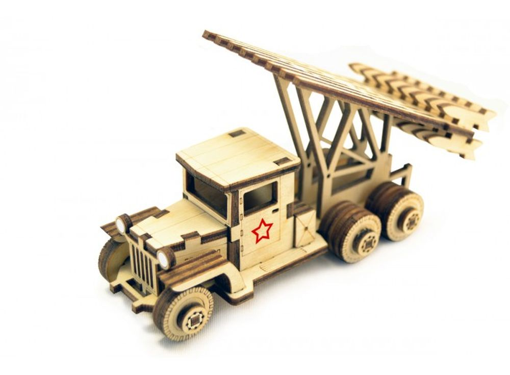 Конструктор «Катюша»3D Конструкторы Lemmo<br>Экологически чистые, развивающие конструкторы от российского производителя Lemmo помогут вашему ребенку развить мелкую моторику рук, воображение, пространственное мышление, логику и познакомят с предметным моделированием.<br> <br>Все детали выполнены из кач...<br><br>Артикул: ЗИС-1<br>Вес: 70 г<br>Размер готовой модели: 12,5x8x5 см<br>Материал: дерево (фанера)<br>Возраст: от 5 лет