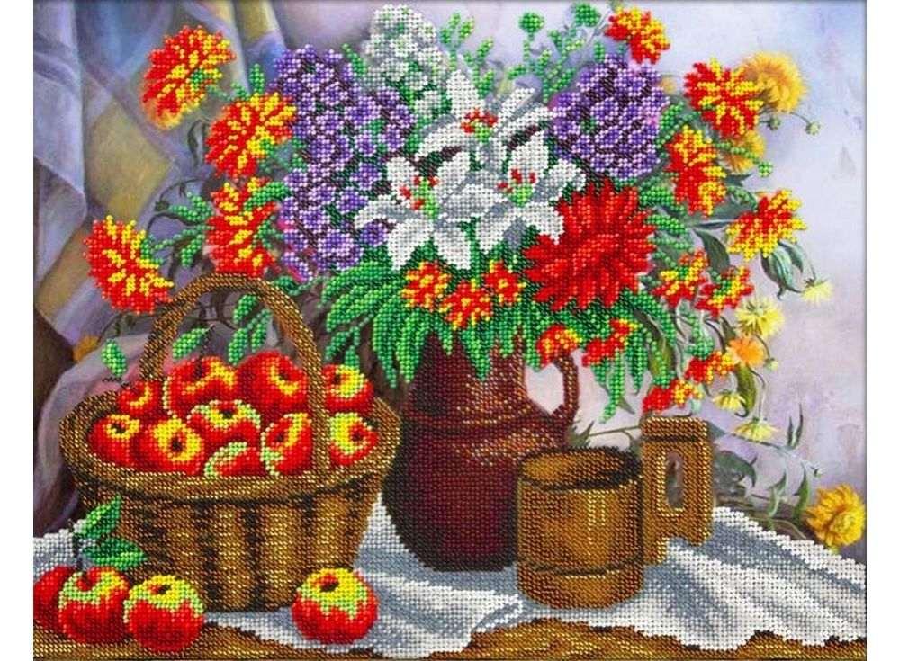 Набор вышивки бисером «Яблоки и садовый букет»Вышивка бисером Паутинка<br><br><br>Артикул: Б-1248<br>Основа: льняная ткань<br>Размер: 36x28 см<br>Техника вышивки: бисер<br>Тип схемы вышивки: Цветная схема<br>Количество цветов: 22<br>Заполнение: Частичное<br>Рисунок на канве: нанесён рисунок<br>Техника: Вышивка бисером