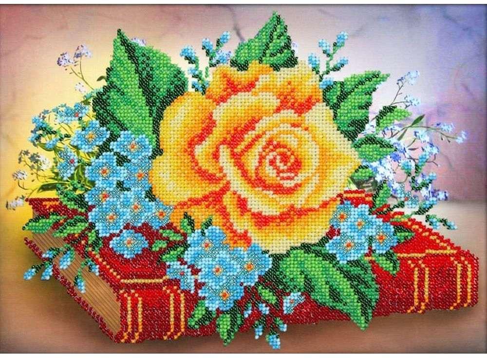 Набор вышивки бисером «Роза и незабудки»Вышивка бисером Паутинка<br><br><br>Артикул: Б-1251<br>Основа: льняная ткань<br>Размер: 28x20 см<br>Техника вышивки: бисер<br>Тип схемы вышивки: Цветная схема<br>Количество цветов: 13<br>Заполнение: Частичное<br>Рисунок на канве: нанесён рисунок<br>Техника: Вышивка бисером