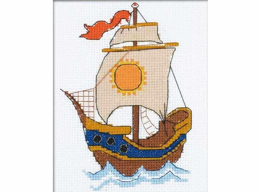 Набор для вышивания «По волнам»Вышивка крестом Риолис<br><br><br>Артикул: НВ129<br>Основа: канва 14 Aida Zweigart<br>Размер: 13x16 см<br>Техника вышивки: счетный крест<br>Серия: Риолис (Веселая пчелка)<br>Тип схемы вышивки: Цветная схема<br>Цвет канвы: Белый<br>Количество цветов: 9<br>Художник, дизайнер: Анастасия Яновская<br>Заполнение: Частичное<br>Игла: 1 вид<br>Рисунок на канве: не нанесён<br>Техника: Вышивка крестом<br>Нитки: мулине СПб