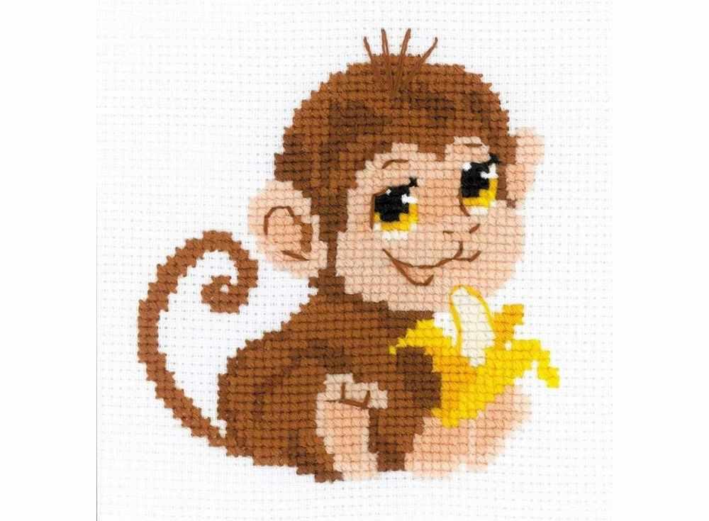 Набор для вышивания «Обезьянкка»Вышивка крестом Риолис<br><br><br>Артикул: НВ161<br>Основа: канва 10 Aida Zweigart<br>Размер: 15x15 см<br>Техника вышивки: счетный крест<br>Серия: Риолис (Веселая пчелка)<br>Тип схемы вышивки: Цветная схема<br>Цвет канвы: Белый<br>Количество цветов: 8<br>Художник, дизайнер: Анна Король<br>Заполнение: Частичное<br>Игла: 1 вид<br>Рисунок на канве: не нанесён<br>Техника: Вышивка крестом<br>Нитки: шерсть/акрил Safil