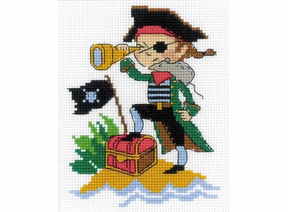 Набор для вышивания «Храбрый пират»Вышивка крестом Риолис<br><br><br>Артикул: НВ164<br>Основа: канва 14 Aida Zweigart<br>Размер: 13x16 см<br>Техника вышивки: счетный крест<br>Серия: Риолис (Веселая пчелка)<br>Тип схемы вышивки: Цветная схема<br>Цвет канвы: Белый<br>Количество цветов: 10<br>Художник, дизайнер: Анастасия Яновская<br>Заполнение: Частичное<br>Игла: 1 вид<br>Рисунок на канве: не нанесён<br>Техника: Вышивка крестом<br>Нитки: мулине СПб