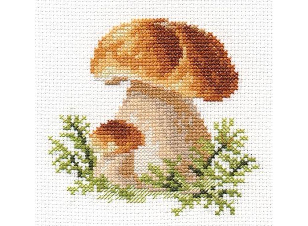 Набор для вышивания «Белые грибы»Вышивка крестом Алиса<br><br><br>Артикул: 0-144<br>Основа: канва Aida 14 100% хлопок Gamma<br>Размер: 10x10 см<br>Техника вышивки: счетный крест<br>Тип схемы вышивки: Цветная схема<br>Цвет канвы: Белый<br>Количество цветов: 13<br>Заполнение: Частичное<br>Игла: Gamma<br>Рисунок на канве: не нанесён<br>Техника: Вышивка крестом<br>Нитки: Мулине Gamma
