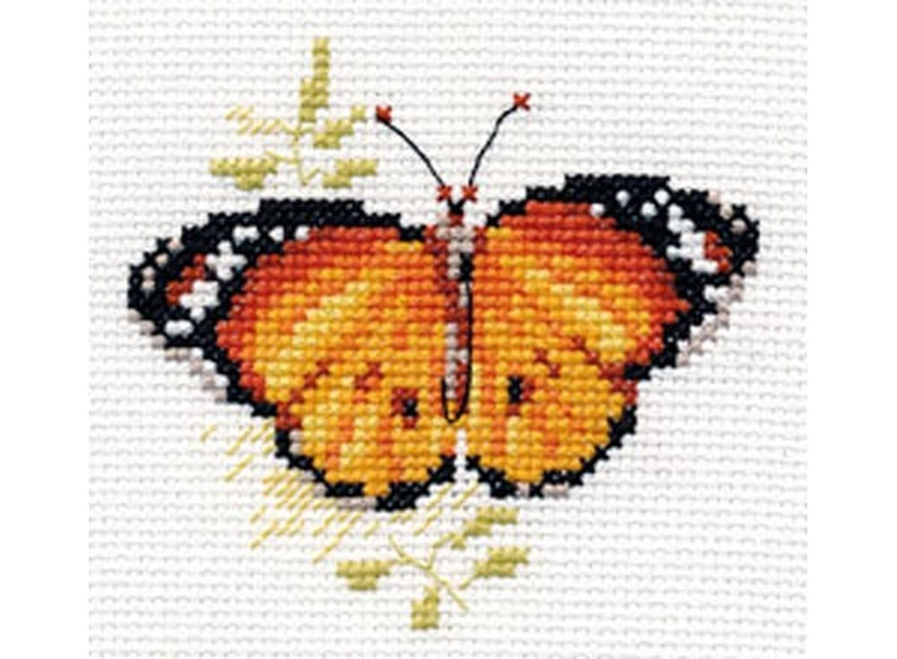 Набор для вышивания «Яркие бабочки. Оранжевая»Вышивка крестом Алиса<br><br><br>Артикул: 0-148<br>Основа: канва Aida 14 100% хлопок Gamma<br>Размер: 9x8 см<br>Техника вышивки: счетный крест<br>Тип схемы вышивки: Цветная схема<br>Цвет канвы: Белый<br>Количество цветов: 9<br>Заполнение: Частичное<br>Игла: Gamma<br>Рисунок на канве: не нанесён<br>Техника: Вышивка крестом<br>Нитки: Мулине Gamma