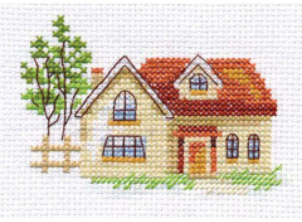 Набор для вышивания «Солнечный домик»Вышивка крестом Алиса<br><br><br>Артикул: 0-152<br>Основа: канва Aida 14 100% хлопок Gamma<br>Размер: 9x6 см<br>Техника вышивки: счетный крест<br>Тип схемы вышивки: Цветная схема<br>Цвет канвы: Белый<br>Количество цветов: 12<br>Заполнение: Частичное<br>Игла: Gamma<br>Рисунок на канве: не нанесён<br>Техника: Вышивка крестом<br>Нитки: Мулине Gamma
