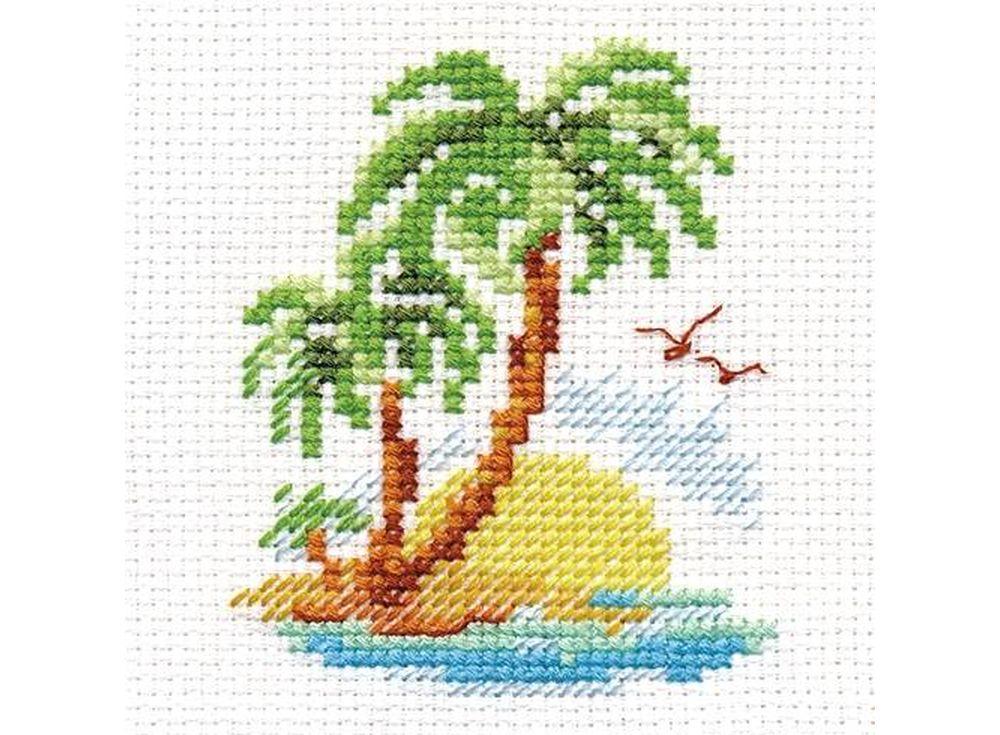 Набор для вышивания «Пальмовый островок»Вышивка крестом Алиса<br><br><br>Артикул: 0-155<br>Основа: канва Aida 14 100% хлопок Gamma<br>Размер: 6x8 см<br>Техника вышивки: счетный крест<br>Тип схемы вышивки: Цветная схема<br>Цвет канвы: Белый<br>Количество цветов: 10<br>Заполнение: Частичное<br>Игла: Gamma<br>Рисунок на канве: не нанесён<br>Техника: Вышивка крестом<br>Нитки: Мулине Gamma