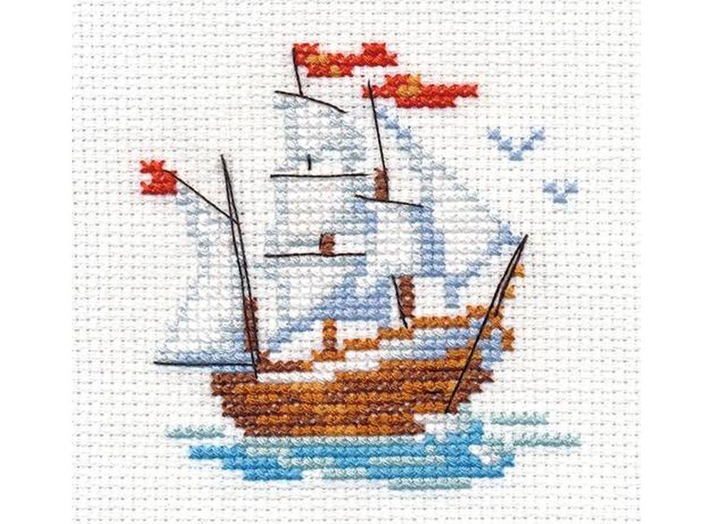 Набор для вышивания «Кораблик»Вышивка крестом Алиса<br><br><br>Артикул: 0-159<br>Основа: канва Aida 14 100% хлопок Gamma<br>Размер: 7x8 см<br>Техника вышивки: счетный крест<br>Тип схемы вышивки: Цветная схема<br>Цвет канвы: Белый<br>Количество цветов: 10<br>Заполнение: Частичное<br>Игла: Gamma<br>Рисунок на канве: не нанесён<br>Техника: Вышивка крестом<br>Нитки: Мулине Gamma