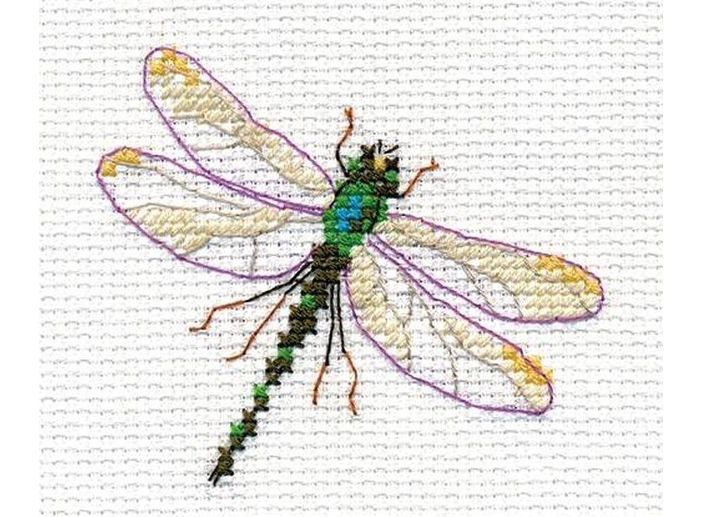 Набор для вышивания «Стрекоза»Вышивка крестом Алиса<br><br><br>Артикул: 0-161<br>Основа: канва Aida 14 100% хлопок Gamma<br>Размер: 8x6 см<br>Техника вышивки: счетный крест<br>Тип схемы вышивки: Цветная схема<br>Цвет канвы: Белый<br>Количество цветов: 9<br>Заполнение: Частичное<br>Игла: Gamma<br>Рисунок на канве: не нанесён<br>Техника: Вышивка крестом<br>Нитки: Мулине Gamma