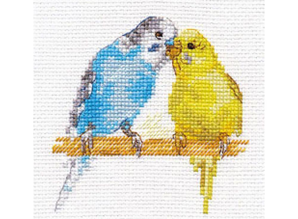 Набор для вышивания «Попугайчики»Вышивка крестом Алиса<br><br><br>Артикул: 0-176<br>Основа: канва Aida 14 100% хлопок Gamma<br>Размер: 8x8 см<br>Техника вышивки: счетный крест<br>Тип схемы вышивки: Цветная схема<br>Цвет канвы: Белый<br>Количество цветов: 17<br>Заполнение: Частичное<br>Игла: Gamma<br>Рисунок на канве: не нанесён<br>Техника: Вышивка крестом<br>Нитки: Мулине Gamma