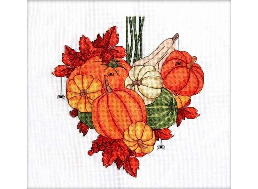 Набор для вышивания «Тыквенное сердце. Ноябрь»Вышивка крестом Астрея (Глурия)<br><br><br>Артикул: 015<br>Основа: канва 14 Aida Zweigart<br>Размер: 22x24 см<br>Техника вышивки: счетный крест<br>Тип схемы вышивки: Цветная схема<br>Цвет канвы: Белый<br>Количество цветов: 18<br>Художник, дизайнер: Татьяна Марчукова<br>Заполнение: Частичное<br>Рисунок на канве: не нанесён<br>Техника: Вышивка крестом<br>Нитки: Мулине DMC