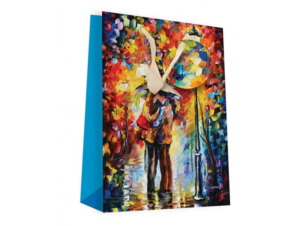 Подарочный пакет «Поцелуй под дождем»Подарочные пакеты<br><br><br>Артикул: 1001S-SB<br>Размер: 18x24x8 см