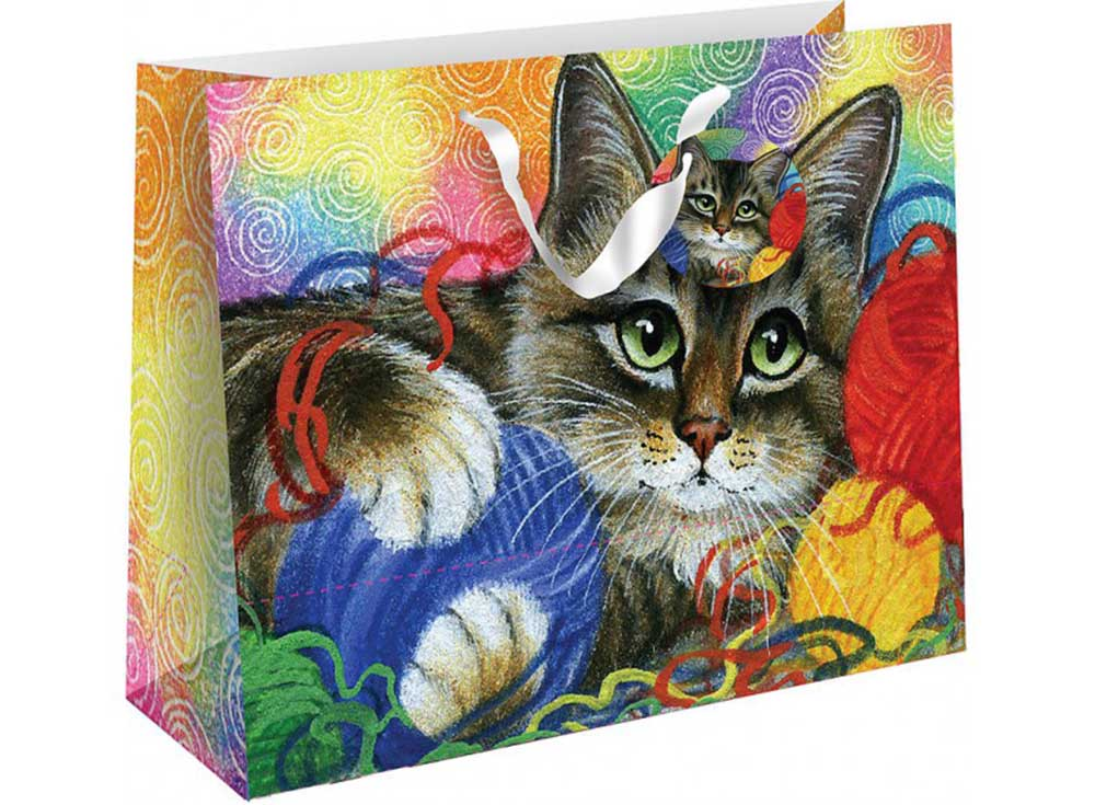 Подарочный пакет «Котик с клубочками»Подарочные пакеты<br><br><br>Артикул: 1011S-SB<br>Размер: 18x10x23 см