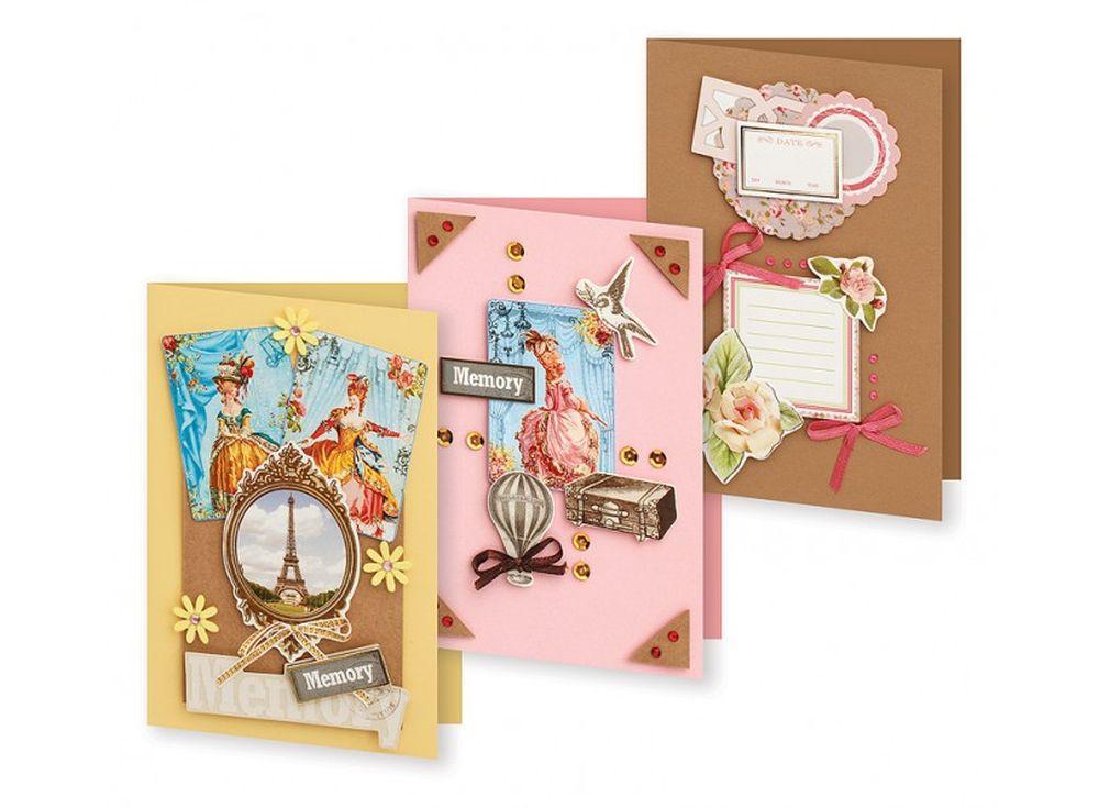 Набор из 3-х открыток «Большое путешествие»Наборы для создания открыток<br>Набор укомплектован цветными заготовками для открыток, ленточками, тесьмой и стразами разных форм. Также вложен комплект вырубки из картона — это красивые букеты, бабочки, карточки для надписей, рамки, игрушки, звездочки, воздушные шары и многое другое. В...<br><br>Артикул: 122-SB<br>Размер: 11,5x17 см<br>Художник, дизайнер: Ирина Зверева