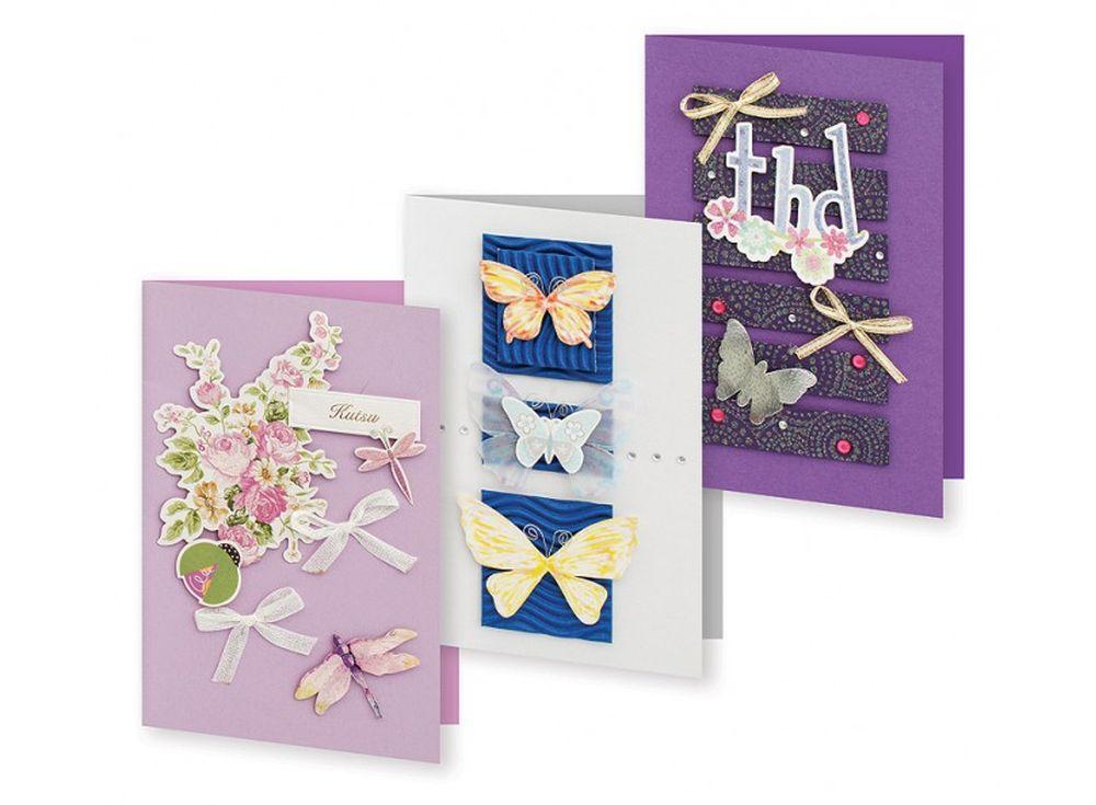 Набор из 3-х открыток «Сюита»Наборы для создания открыток<br>Набор укомплектован цветными заготовками для открыток, ленточками, тесьмой и стразами разных форм. Также вложен комплект вырубки из картона — это красивые букеты, бабочки, карточки для надписей, рамки, игрушки, звездочки, воздушные шары и многое другое. В...<br><br>Артикул: 124-SB<br>Размер: 11,5x17 см<br>Художник, дизайнер: Ирина Зверева
