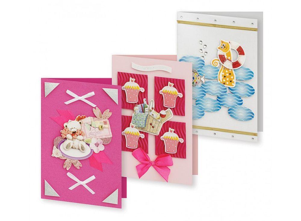 Набор из 3-х открыток «Маскарад»Наборы для создания открыток<br>Набор укомплектован цветными заготовками для открыток, ленточками, тесьмой и стразами разных форм. Также вложен комплект вырубки из картона — это красивые букеты, бабочки, карточки для надписей, рамки, игрушки, звездочки, воздушные шары и многое другое. В...<br><br>Артикул: 126-SB<br>Размер: 11,5x17 см<br>Художник, дизайнер: Ирина Зверева