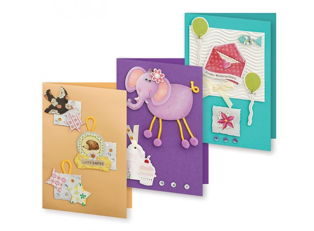 Набор из 3-х открыток «Веселая фантазия»Наборы для создания открыток<br>Набор укомплектован цветными заготовками для открыток, ленточками, тесьмой и стразами разных форм. Также вложен комплект вырубки из картона — это красивые букеты, бабочки, карточки для надписей, рамки, игрушки, звездочки, воздушные шары и многое другое. В...<br><br>Артикул: 127-SB<br>Размер: 11,5x17 см<br>Художник, дизайнер: Ирина Зверева