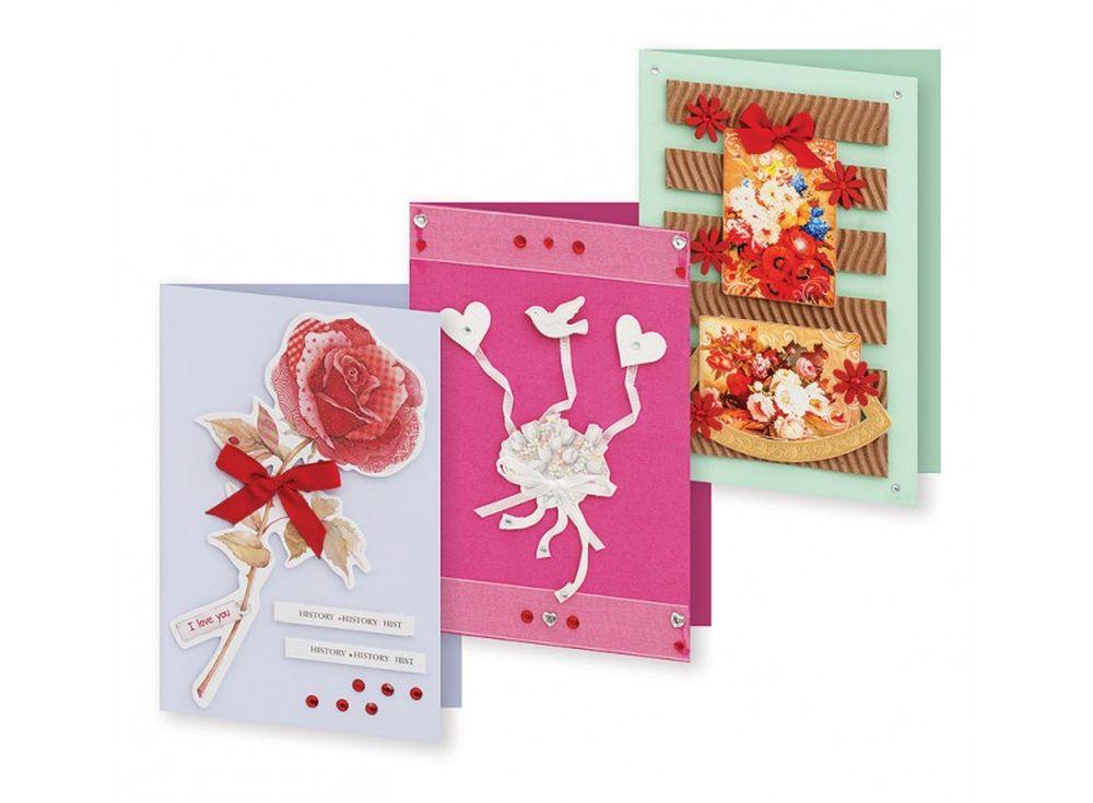Набор из 3-х открыток «Нежный букет»Наборы для создания открыток<br>Набор укомплектован цветными заготовками для открыток, ленточками, тесьмой и стразами разных форм. Также вложен комплект вырубки из картона — это красивые букеты, бабочки, карточки для надписей, рамки, игрушки, звездочки, воздушные шары и многое другое. В...<br><br>Артикул: 128-SB<br>Размер: 11,5x17 см<br>Художник, дизайнер: Ирина Зверева