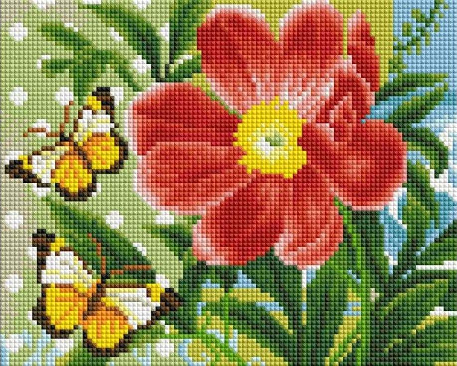 Алмазная вышивка «Бабочки и цветок»Алмазная вышивка фирмы Белоснежка<br><br><br>Артикул: 409-ST-PS<br>Основа: Холст без подрамника<br>Сложность: средние<br>Размер: 20x25 см<br>Выкладка: Полная<br>Количество цветов: 28<br>Тип страз: Квадратные