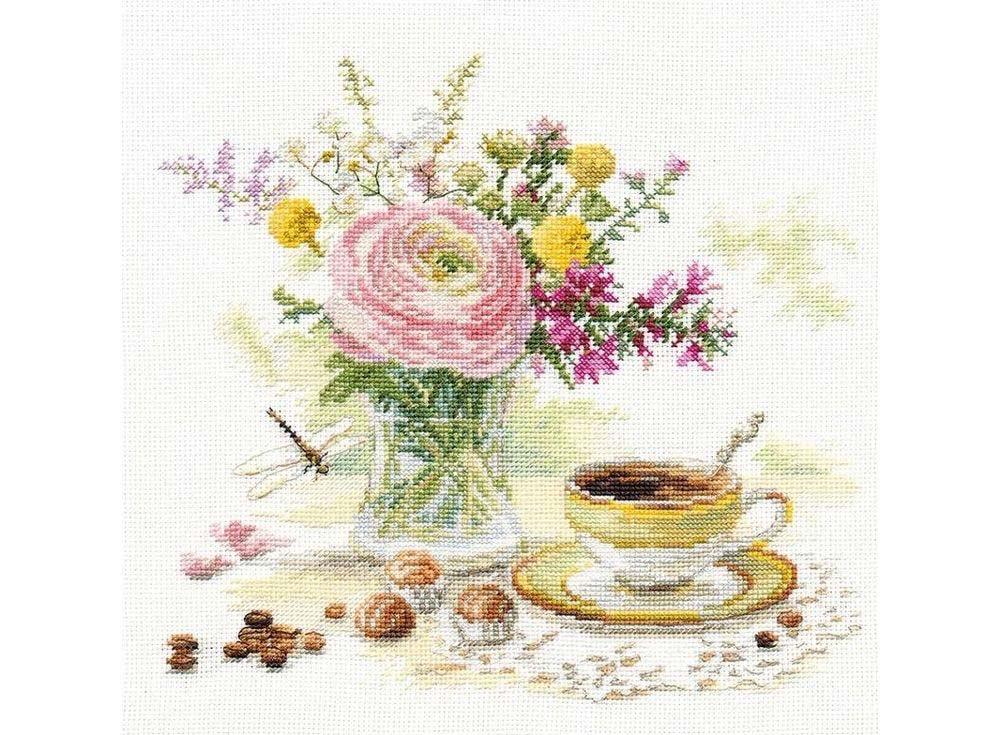 Набор для вышивания «Утренний кофе»Вышивка крестом Алиса<br><br><br>Артикул: 5-18<br>Основа: канва Aida 16<br>Размер: 23x22 см<br>Техника вышивки: счетный крест<br>Тип схемы вышивки: Цветная схема<br>Цвет канвы: Белый<br>Количество цветов: 35<br>Заполнение: Частичное<br>Игла: Gamma<br>Рисунок на канве: не нанесён<br>Техника: Вышивка крестом<br>Нитки: Мулине Gamma