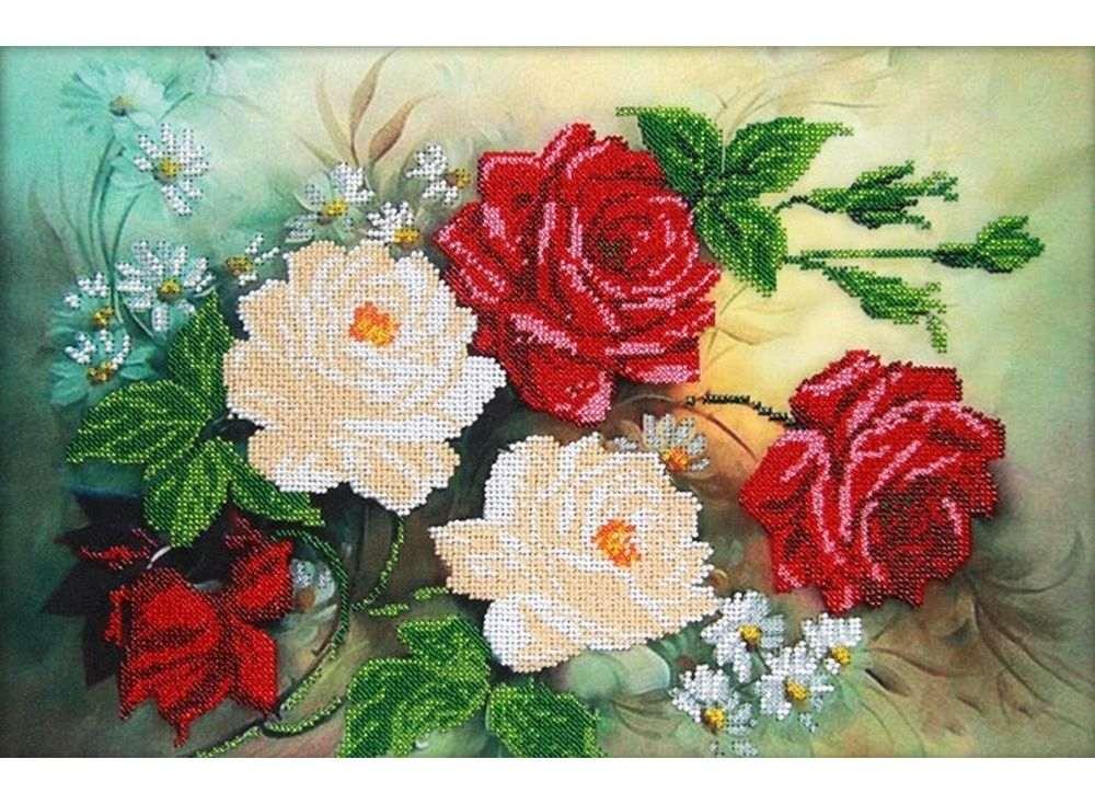 Набор вышивки бисером «Розы»Вышивка бисером Астрея (Глурия)<br><br><br>Артикул: 60024<br>Основа: габардин<br>Размер: 40x26 см<br>Техника вышивки: бисер<br>Тип схемы вышивки: Цветная схема<br>Количество цветов: 11<br>Заполнение: Частичное<br>Рисунок на канве: нанесён рисунок и схема<br>Техника: Вышивка бисером