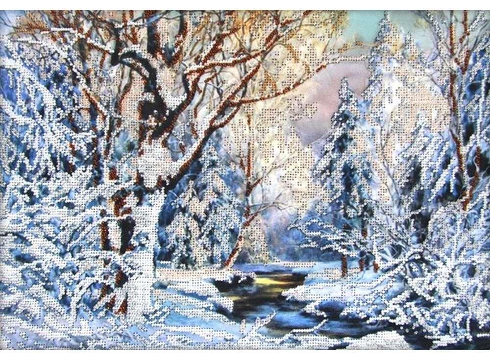 Набор вышивки бисером «Зима в лесу»Вышивка бисером Астрея (Глурия)<br><br><br>Артикул: 61020<br>Основа: габардин<br>Размер: 40x28 см<br>Техника вышивки: бисер<br>Тип схемы вышивки: Цветная схема<br>Количество цветов: 5<br>Заполнение: Частичное<br>Рисунок на канве: нанесён рисунок и схема<br>Техника: Вышивка бисером