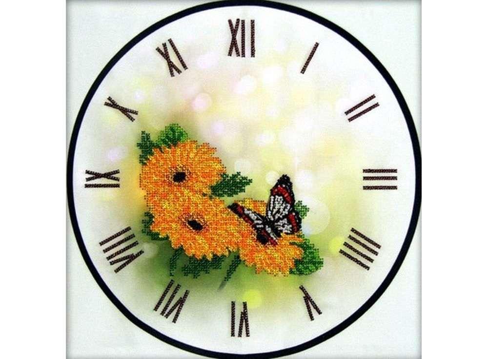 Набор вышивки бисером «Часы-Герберы»Вышивка часов Астрея (Глурия)<br><br><br>Артикул: 68001<br>Основа: габардин<br>Размер: 30x30 см<br>Техника вышивки: бисер<br>Тип схемы вышивки: Цветная схема<br>Количество цветов: 9<br>Заполнение: Частичное<br>Рисунок на канве: нанесён рисунок и схема<br>Техника: Вышивка часов